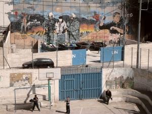Vista do terraço da escola de rapazes do campo de refugiados de Aida, gerido pela UNRWA em Belém, na Cisjordânia